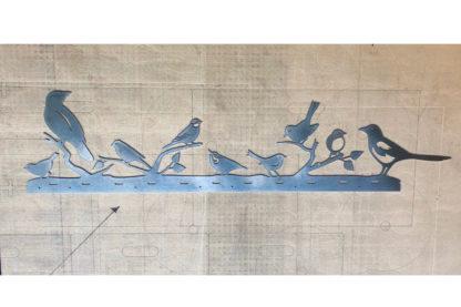 Vogel Silhouette aus Edelstahl wasserstrahlgeschnitten